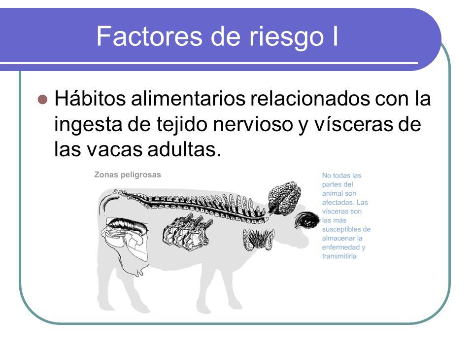 Factores de riesgo I Hábitos alimentarios relacionados con la ingesta de tejido nervioso y vísceras de las vacas adultas.