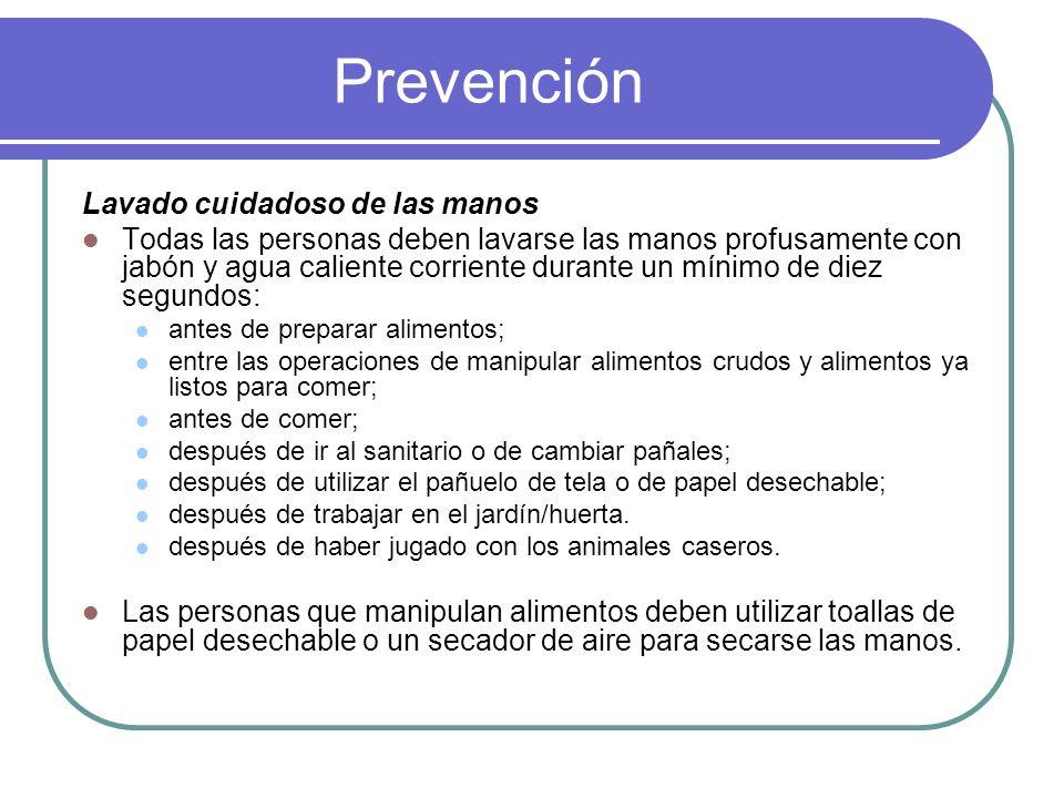 Prevención Lavado cuidadoso de las manos