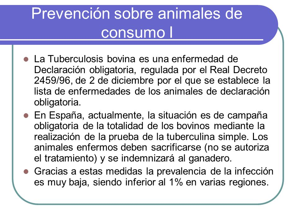 Prevención sobre animales de consumo I