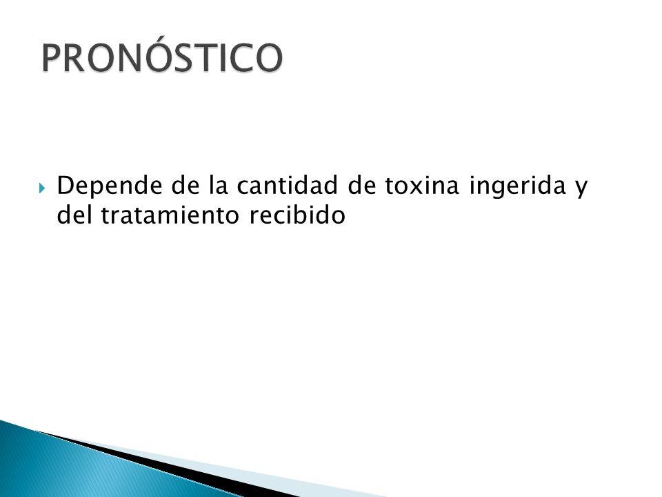 PRONÓSTICO Depende de la cantidad de toxina ingerida y del tratamiento recibido