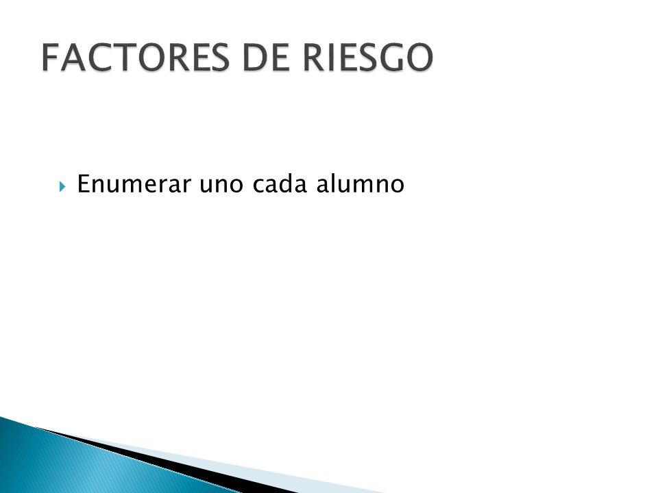 FACTORES DE RIESGO Enumerar uno cada alumno