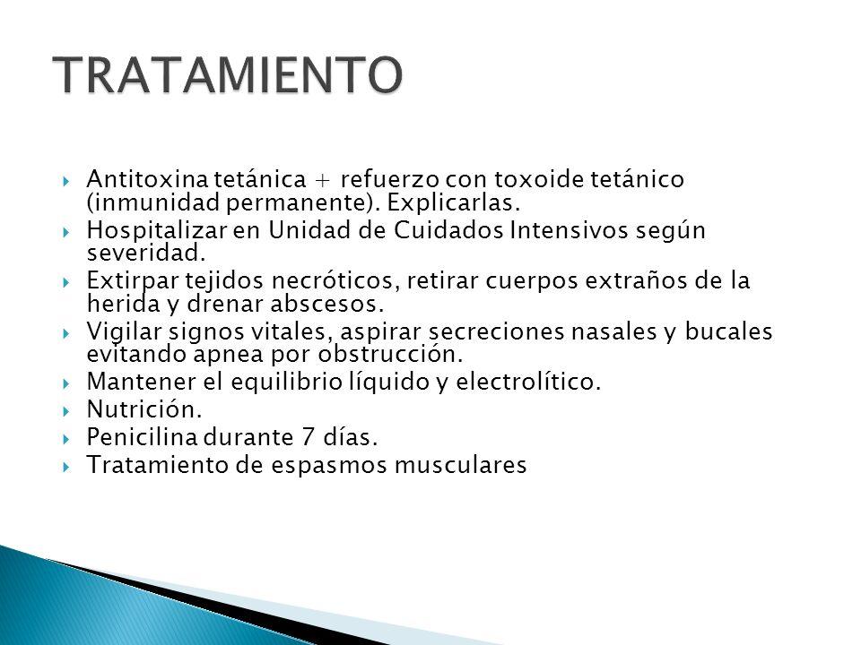 TRATAMIENTO Antitoxina tetánica + refuerzo con toxoide tetánico (inmunidad permanente). Explicarlas.