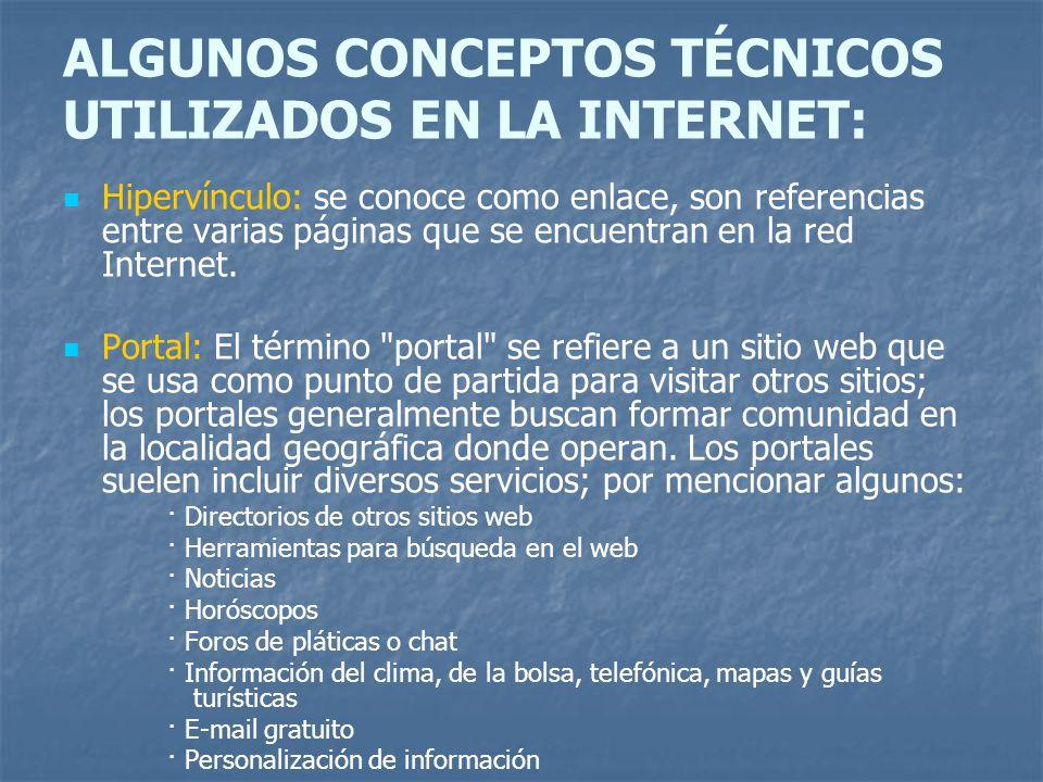 ALGUNOS CONCEPTOS TÉCNICOS UTILIZADOS EN LA INTERNET: