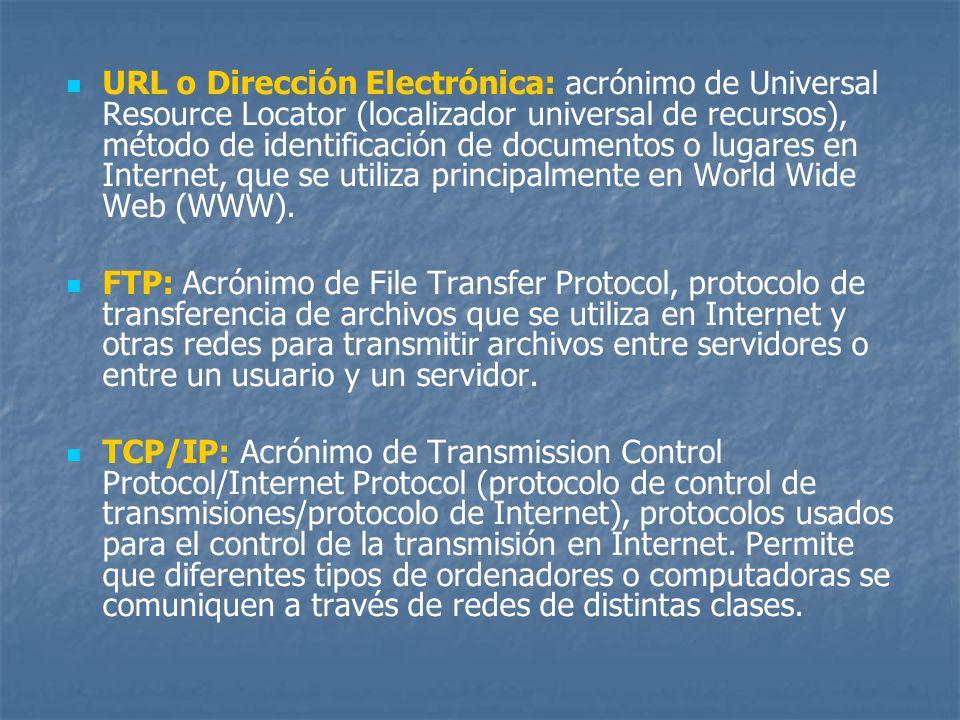 URL o Dirección Electrónica: acrónimo de Universal Resource Locator (localizador universal de recursos), método de identificación de documentos o lugares en Internet, que se utiliza principalmente en World Wide Web (WWW).