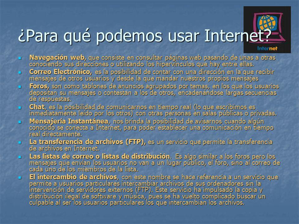 ¿Para qué podemos usar Internet