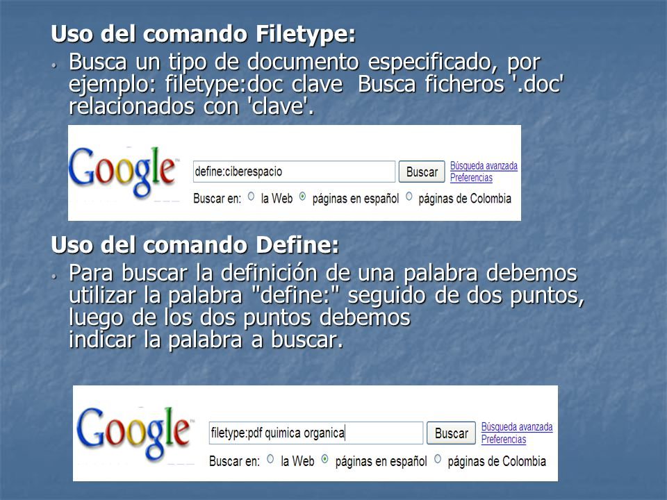 Uso del comando Filetype: