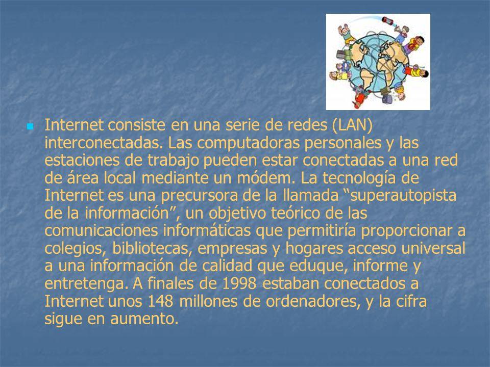 Internet consiste en una serie de redes (LAN) interconectadas