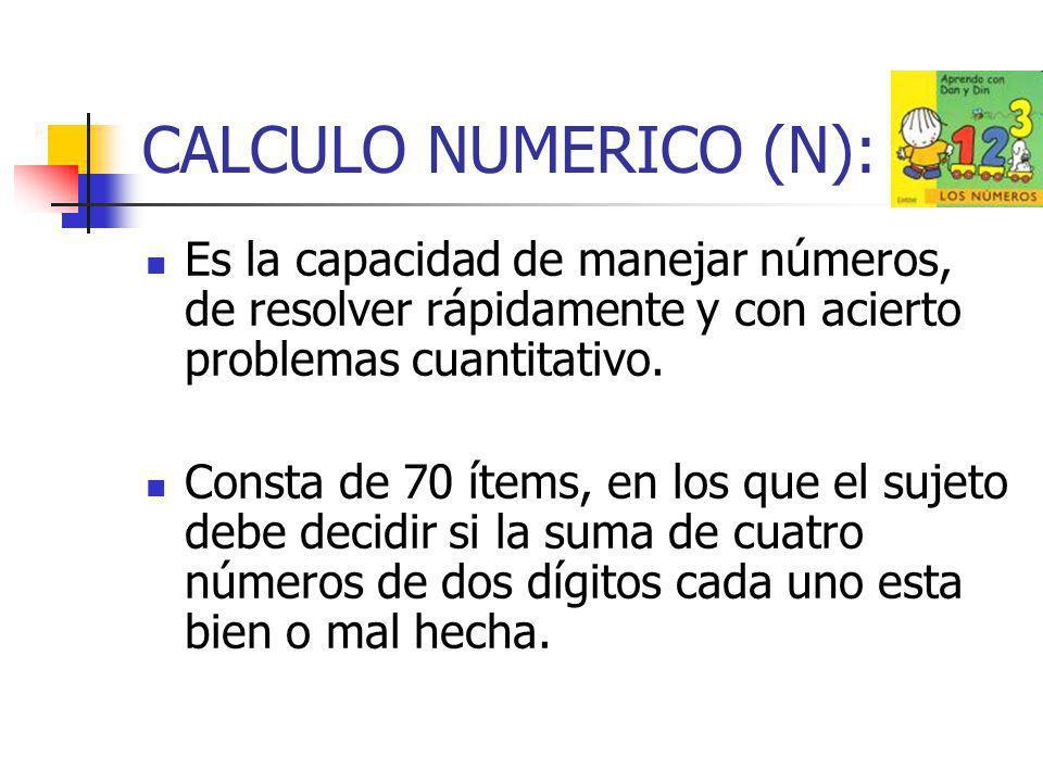 CALCULO NUMERICO (N): Es la capacidad de manejar números, de resolver rápidamente y con acierto problemas cuantitativo.