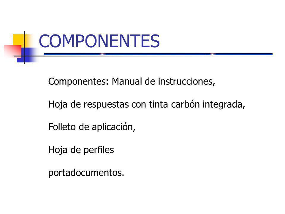 COMPONENTES Componentes: Manual de instrucciones,