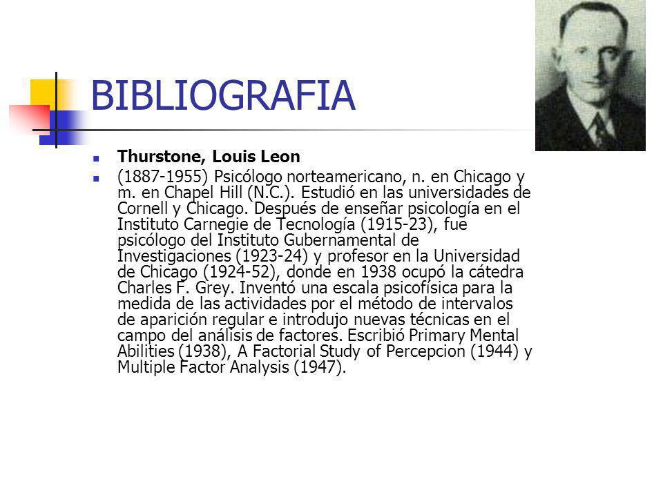 BIBLIOGRAFIA Thurstone, Louis Leon