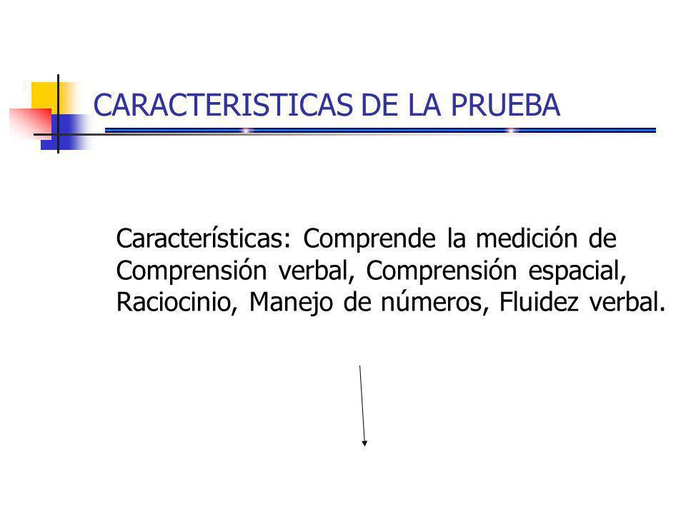 CARACTERISTICAS DE LA PRUEBA