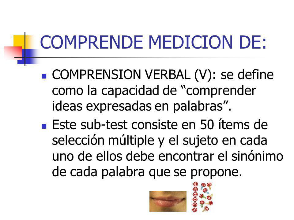 COMPRENDE MEDICION DE: