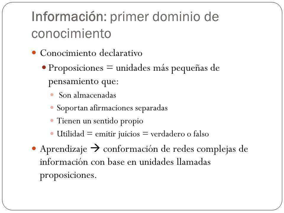Información: primer dominio de conocimiento
