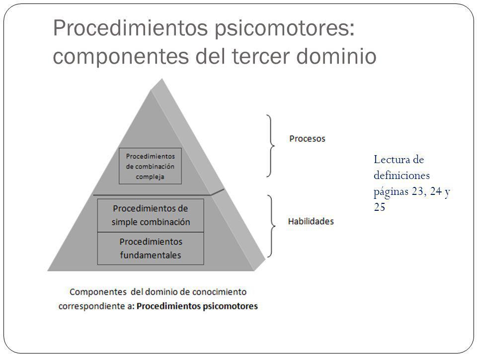 Procedimientos psicomotores: componentes del tercer dominio