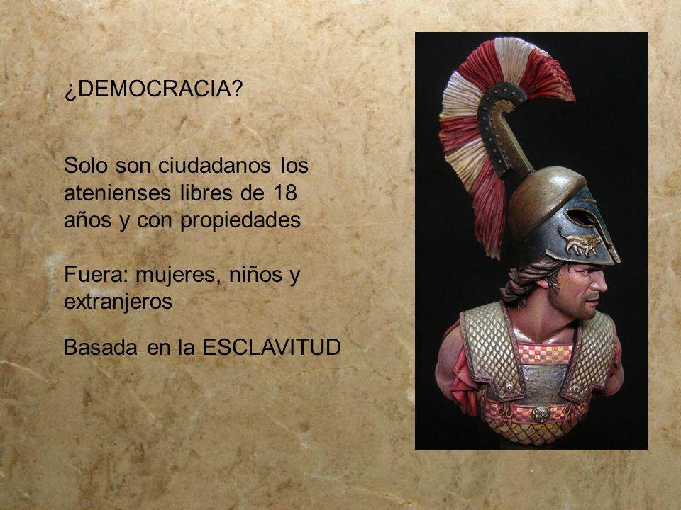 ¿DEMOCRACIA Solo son ciudadanos los atenienses libres de 18 años y con propiedades. Fuera: mujeres, niños y extranjeros.