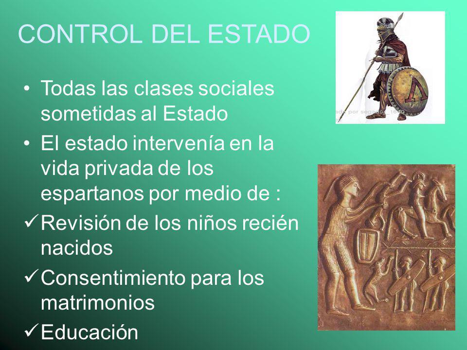 CONTROL DEL ESTADO Todas las clases sociales sometidas al Estado