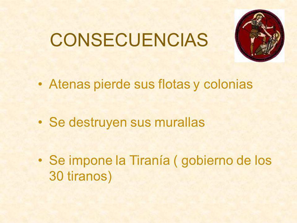 CONSECUENCIAS Atenas pierde sus flotas y colonias