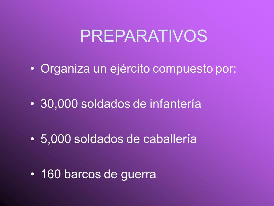 PREPARATIVOS Organiza un ejército compuesto por: