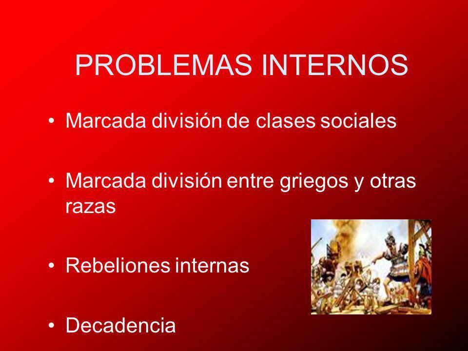 PROBLEMAS INTERNOS Marcada división de clases sociales
