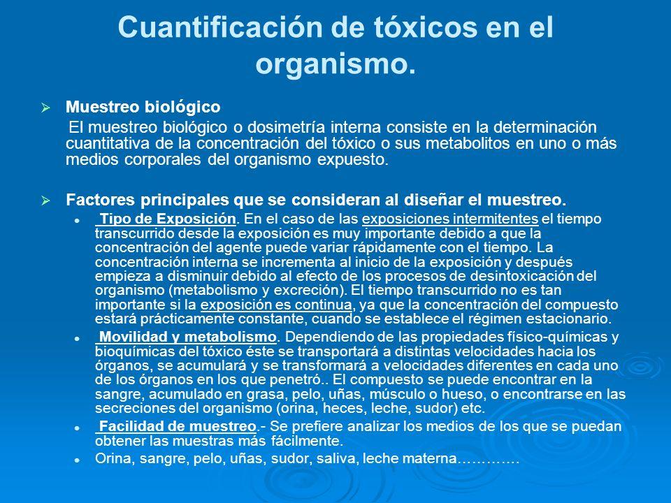 Cuantificación de tóxicos en el organismo.