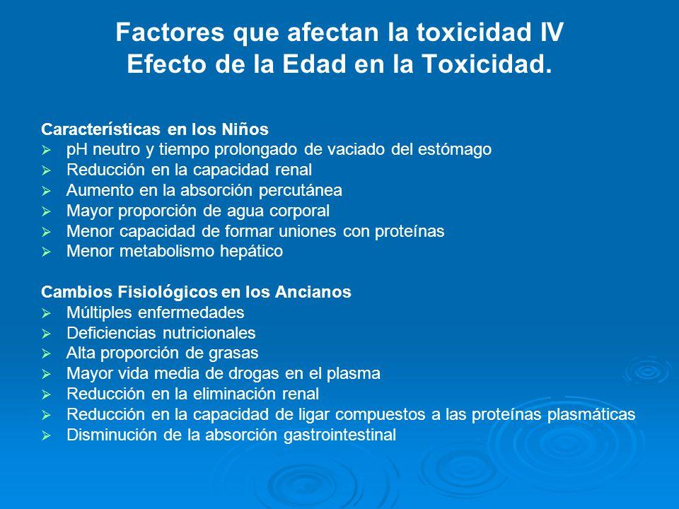 Factores que afectan la toxicidad IV Efecto de la Edad en la Toxicidad.