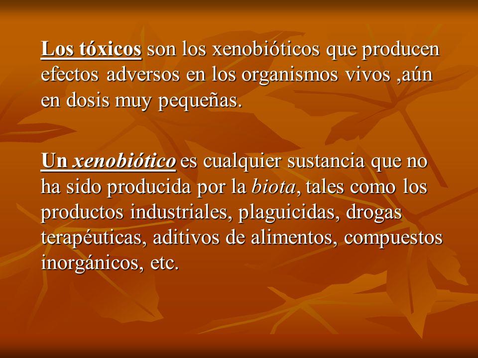 Los tóxicos son los xenobióticos que producen efectos adversos en los organismos vivos ,aún en dosis muy pequeñas.