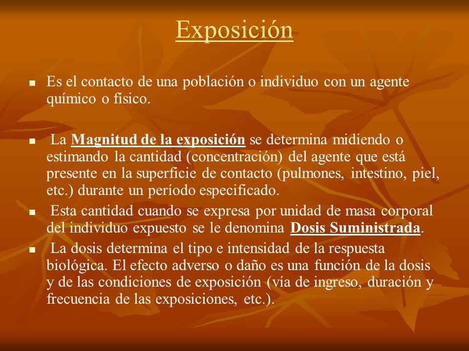 Exposición Es el contacto de una población o individuo con un agente químico o físico.