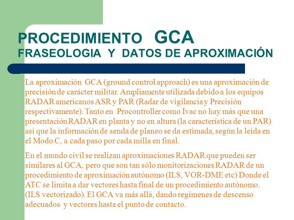 PROCEDIMIENTO GCA FRASEOLOGIA Y DATOS DE APROXIMACIÓN