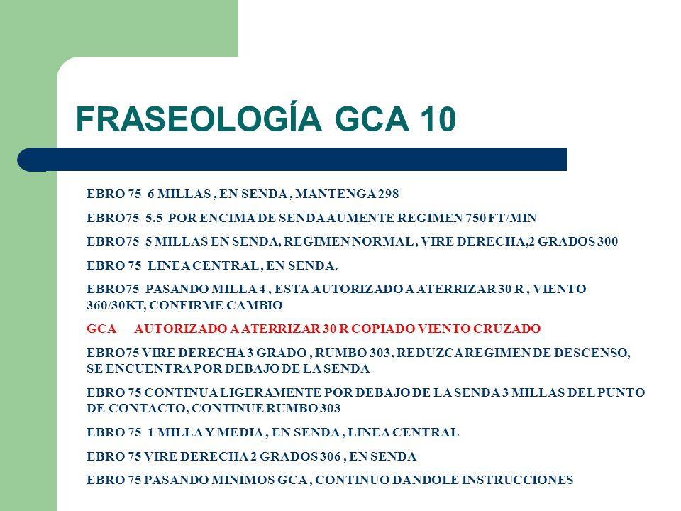 FRASEOLOGÍA GCA 10 EBRO 75 6 MILLAS , EN SENDA , MANTENGA 298