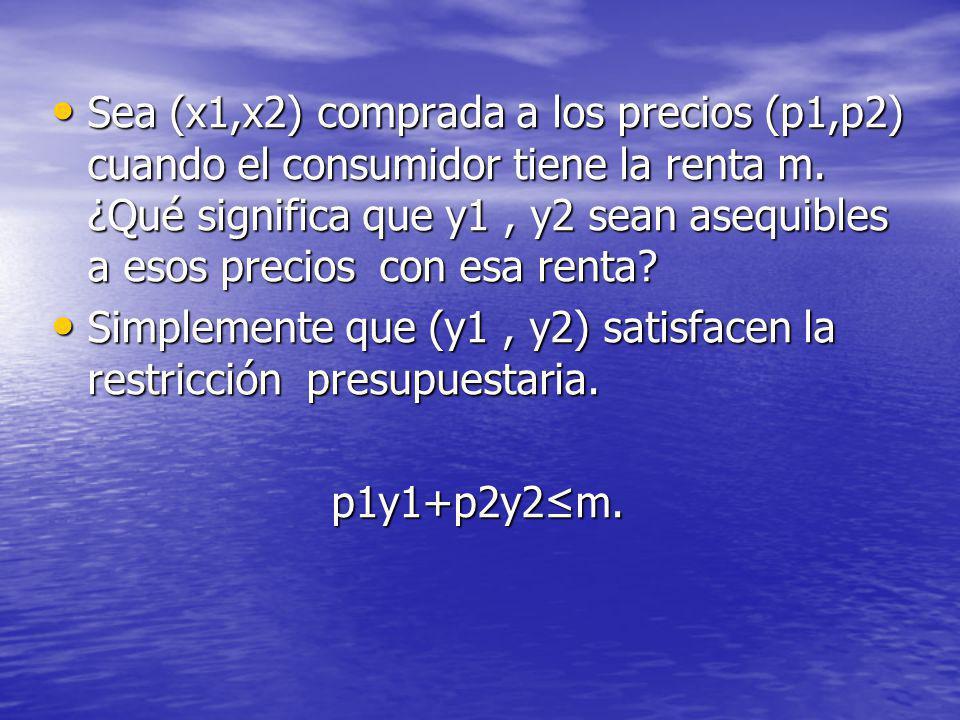 Sea (x1,x2) comprada a los precios (p1,p2) cuando el consumidor tiene la renta m. ¿Qué significa que y1 , y2 sean asequibles a esos precios con esa renta