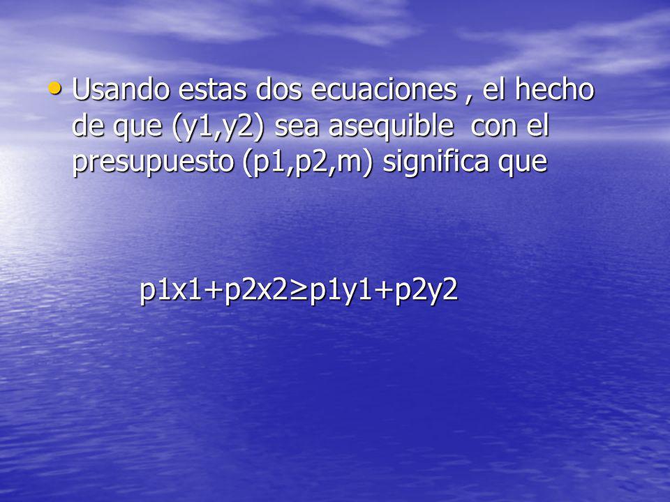 Usando estas dos ecuaciones , el hecho de que (y1,y2) sea asequible con el presupuesto (p1,p2,m) significa que