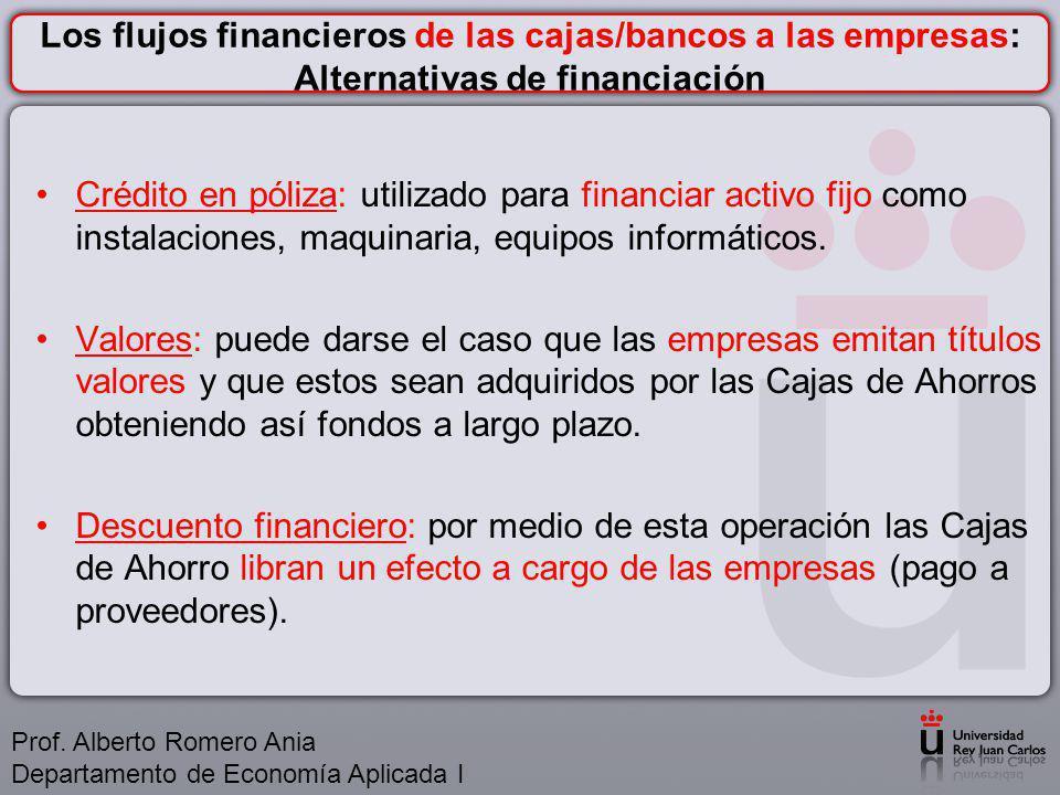 Los flujos financieros de las cajas/bancos a las empresas: Alternativas de financiación
