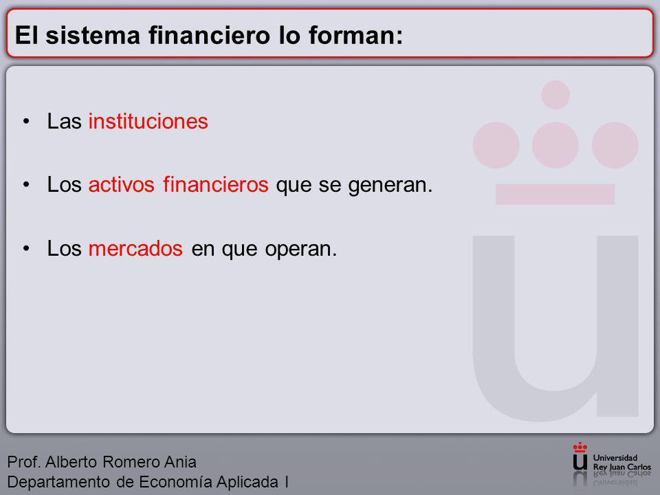 El sistema financiero lo forman: