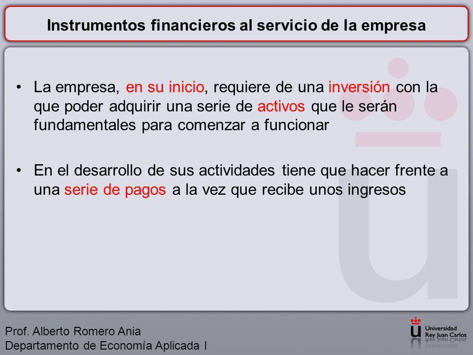 Instrumentos financieros al servicio de la empresa