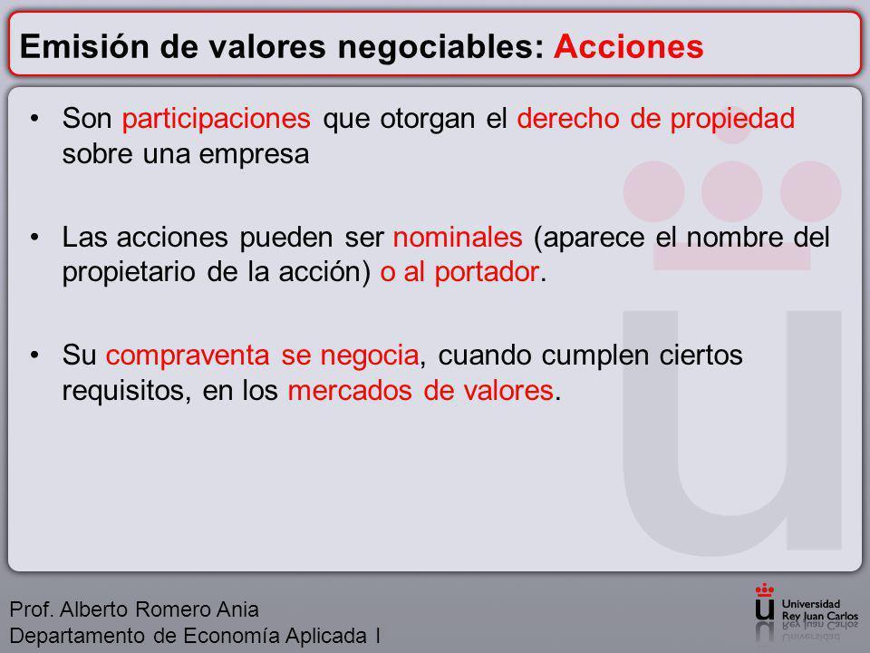 Emisión de valores negociables: Acciones