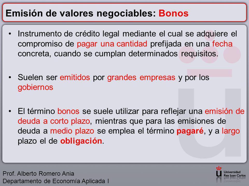 Emisión de valores negociables: Bonos