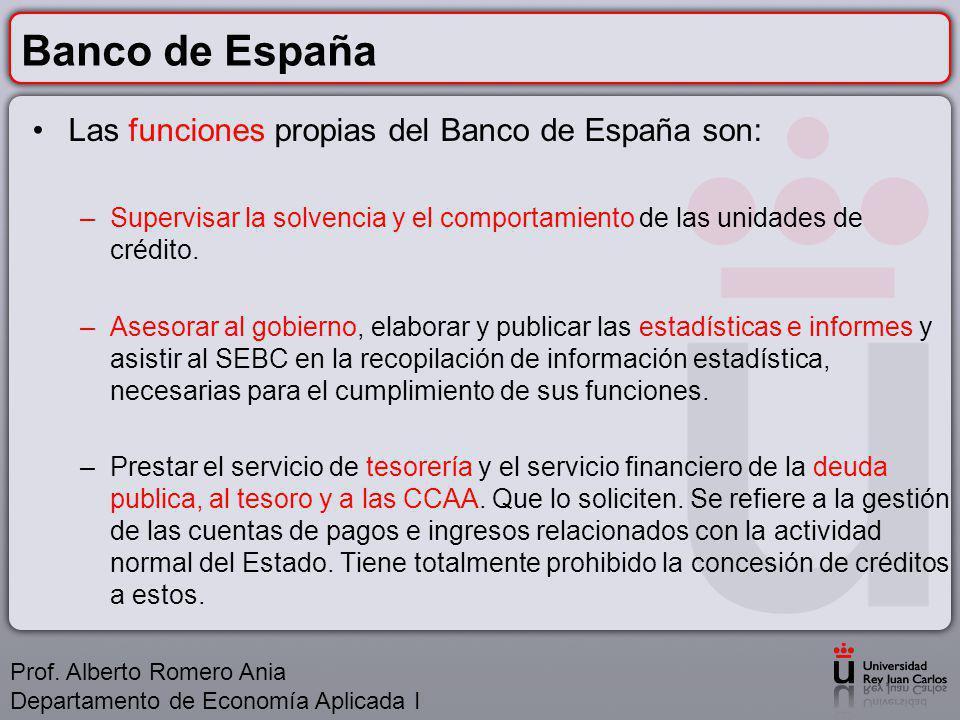 Banco de España Las funciones propias del Banco de España son: