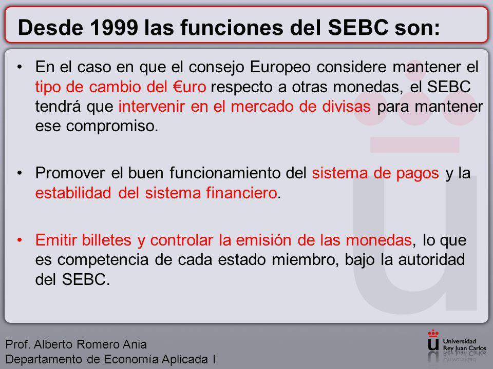 Desde 1999 las funciones del SEBC son: