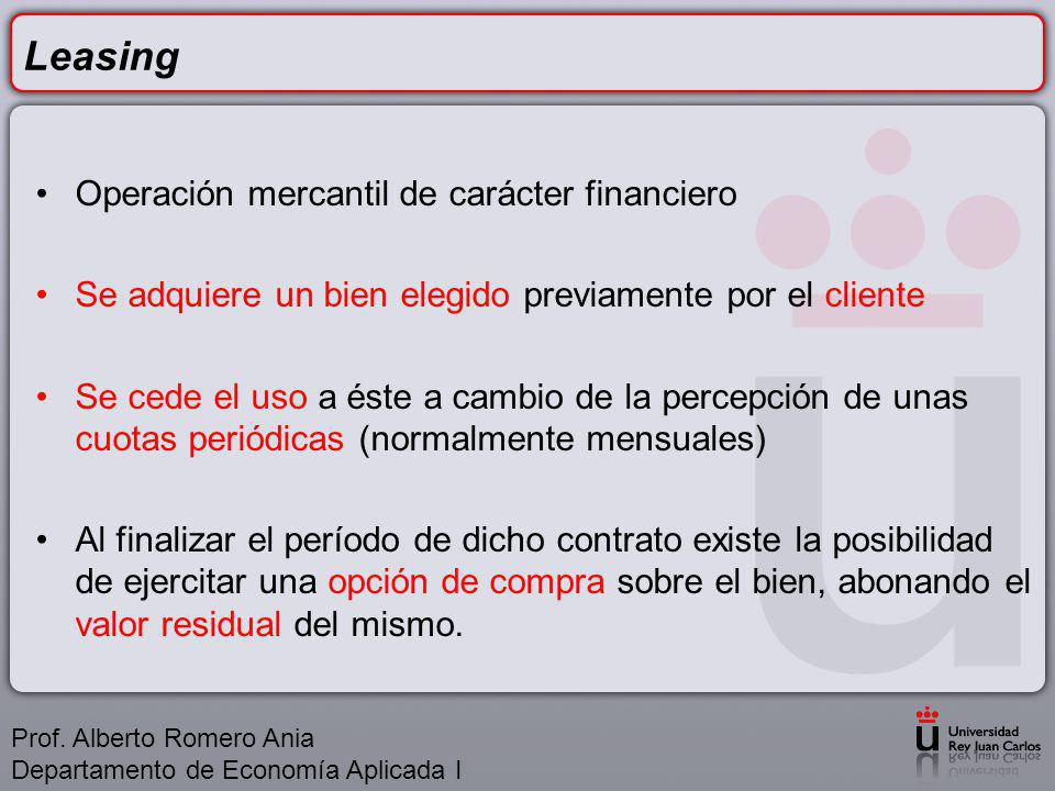 Leasing Operación mercantil de carácter financiero