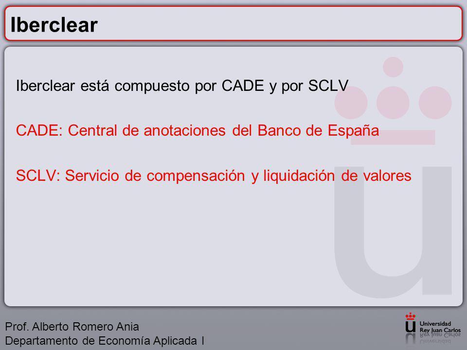 Iberclear Iberclear está compuesto por CADE y por SCLV