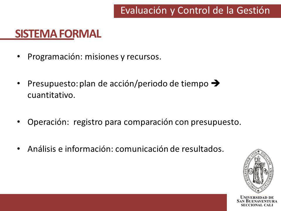 SISTEMA FORMAL Programación: misiones y recursos.