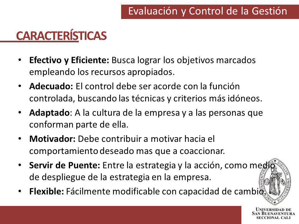 CARACTERÍSTICAS Efectivo y Eficiente: Busca lograr los objetivos marcados empleando los recursos apropiados.