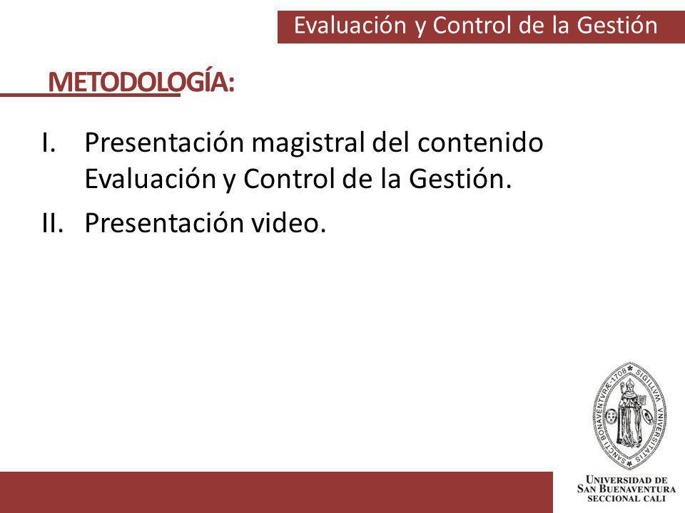 METODOLOGÍA: Presentación magistral del contenido Evaluación y Control de la Gestión.