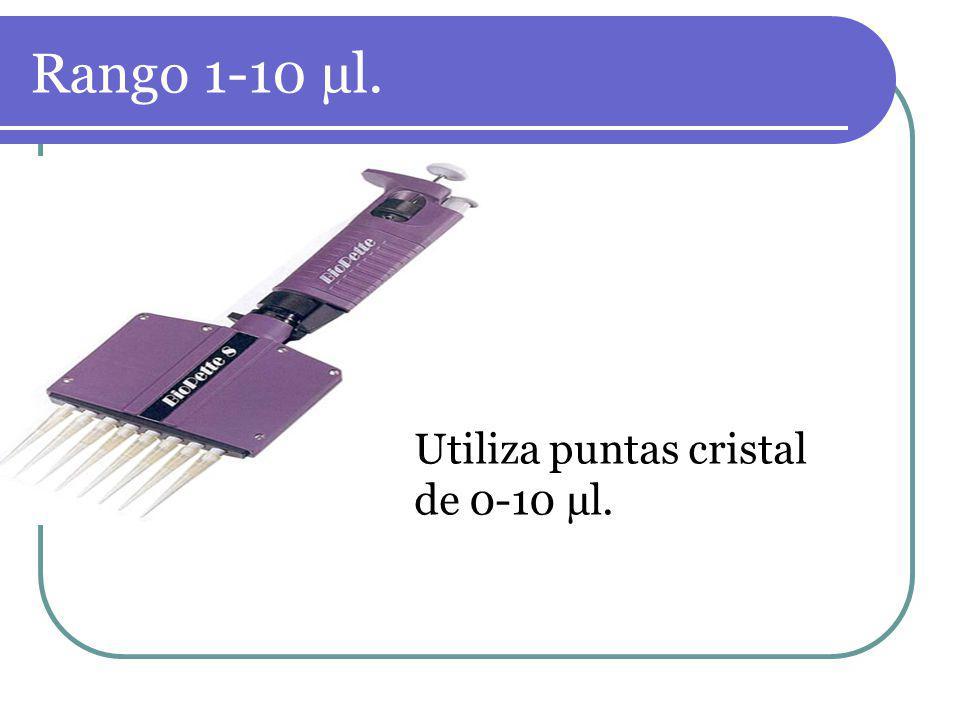 Rango 1-10 µl. Utiliza puntas cristal de 0-10 µl.