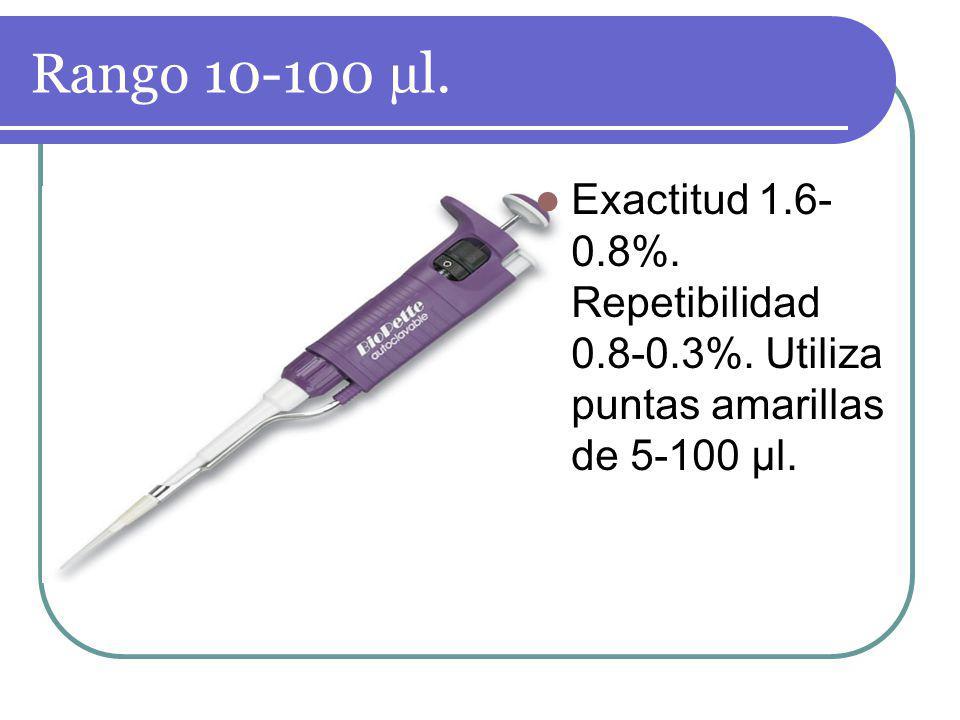 Rango 10-100 µl. Exactitud 1.6-0.8%. Repetibilidad 0.8-0.3%. Utiliza puntas amarillas de 5-100 µl.