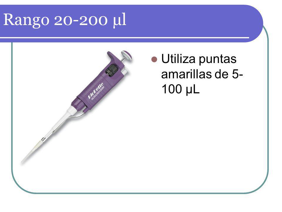 Rango 20-200 µl Utiliza puntas amarillas de 5-100 µL