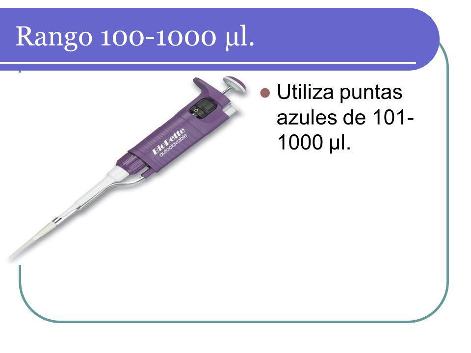 Rango 100-1000 µl. Utiliza puntas azules de 101-1000 µl.