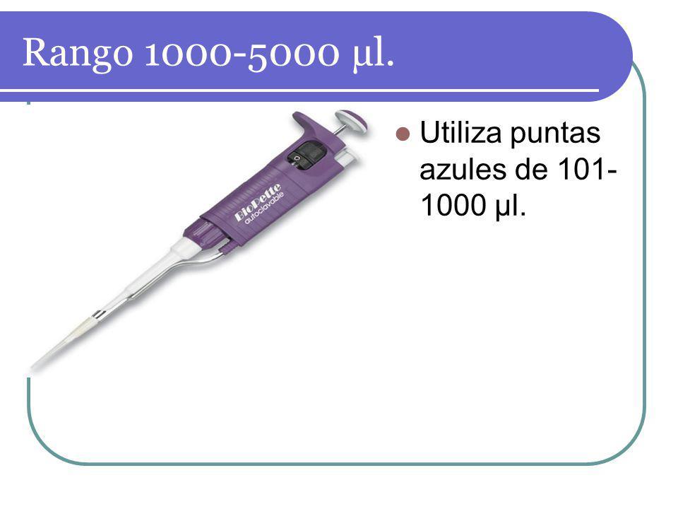 Rango 1000-5000 µl. Utiliza puntas azules de 101-1000 µl.