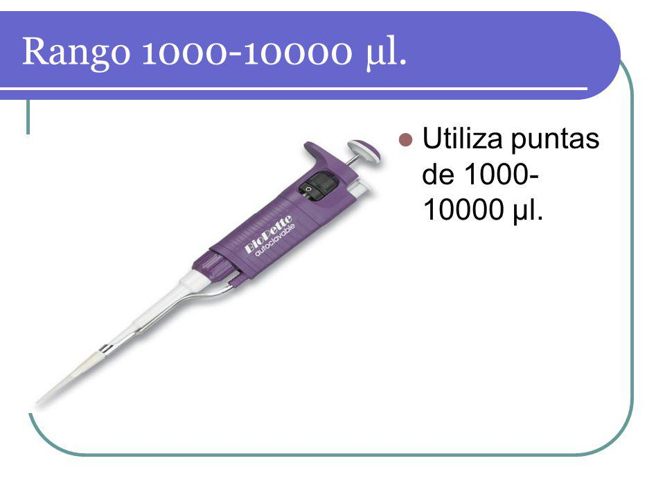 Rango 1000-10000 µl. Utiliza puntas de 1000-10000 µl.