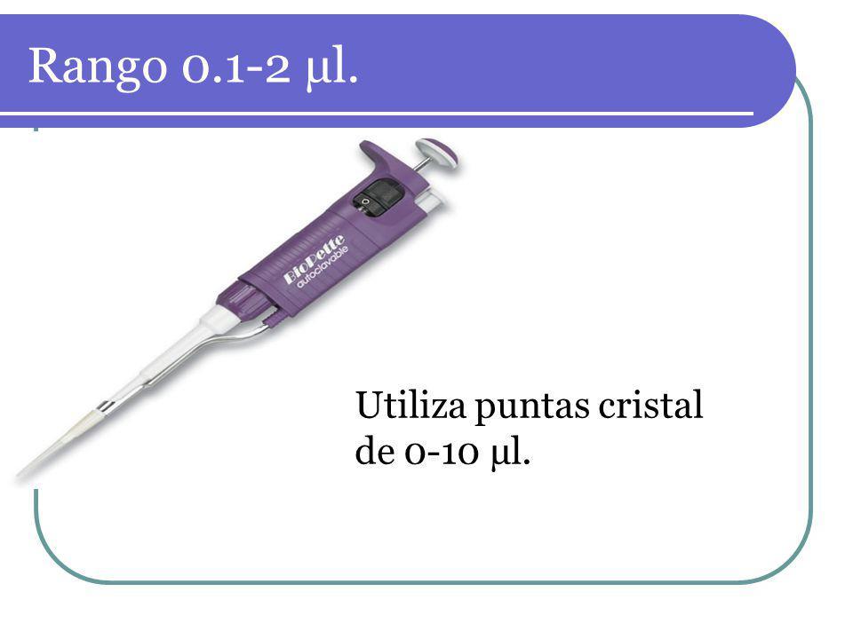 Rango 0.1-2 µl. Utiliza puntas cristal de 0-10 µl.